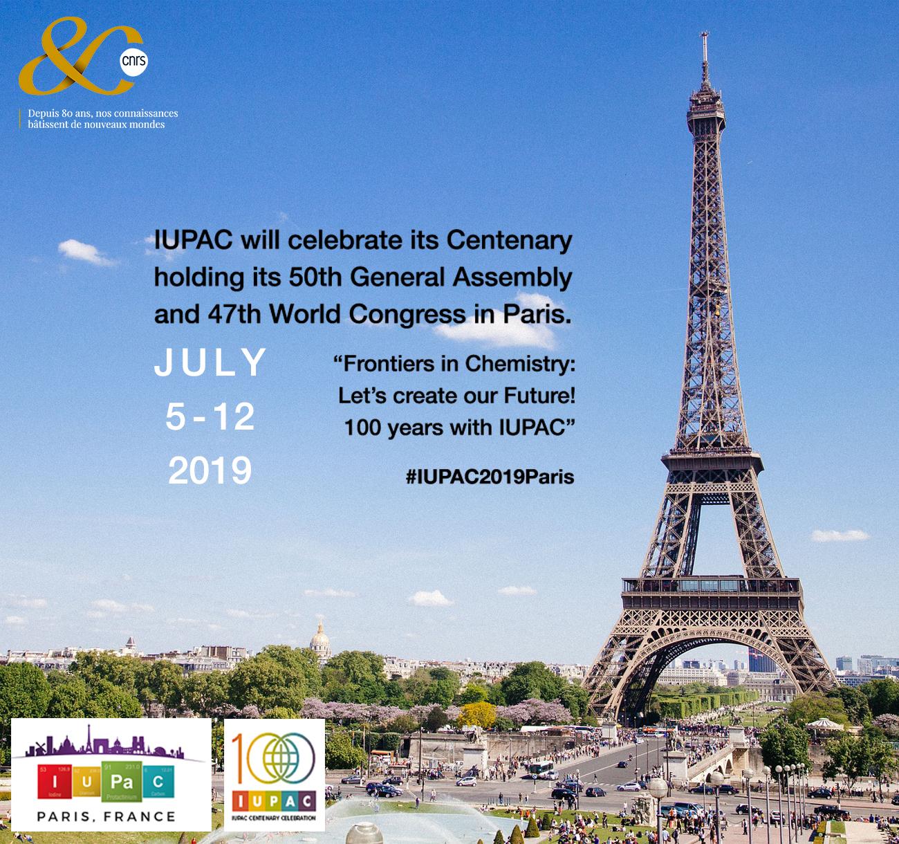 Centenaire et congrès mondial de l'IUPAC